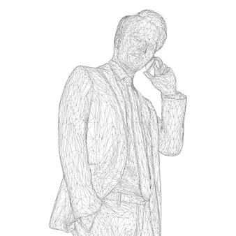 Männlicher geschäftsmann in einem business-anzug, der am telefon steht und spricht und den kopf leicht neigt.