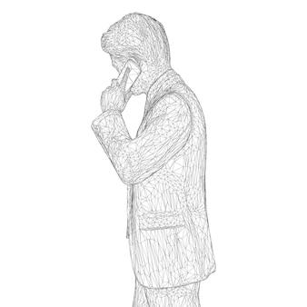 Männlicher geschäftsmann in einem business-anzug, der am telefon steht und spricht und den kopf leicht neigt. Premium Vektoren