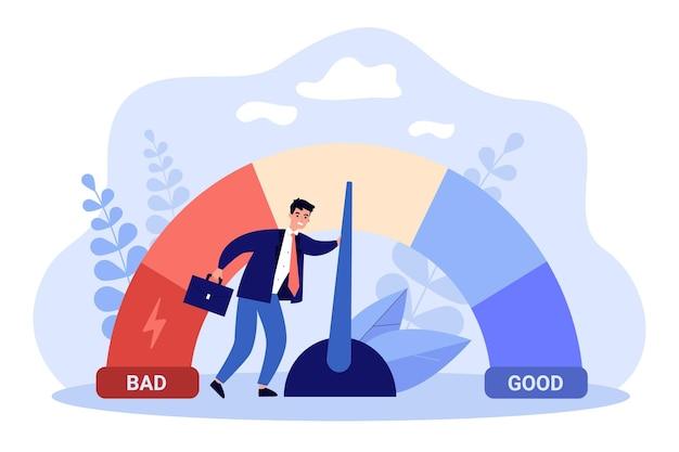 Männlicher geschäftsmann mit kredit-score-skala. junger mann, der persönliche finanzkontoinformationen ändert