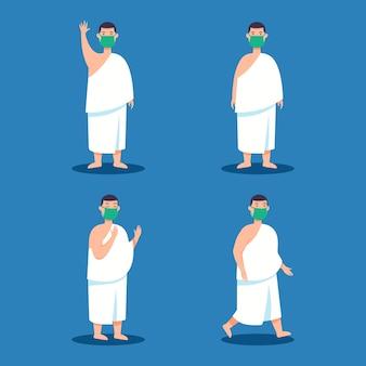 Männlicher hajj-pilgercharakter, der gesichtsmaske während der pandemie trägt