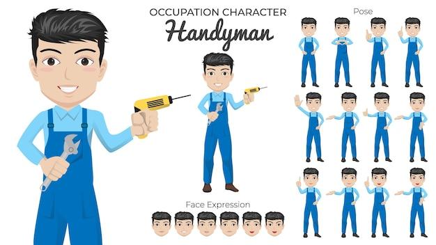 Männlicher handwerker-zeichensatz mit einer vielzahl von pose- und gesichtsausdrücken