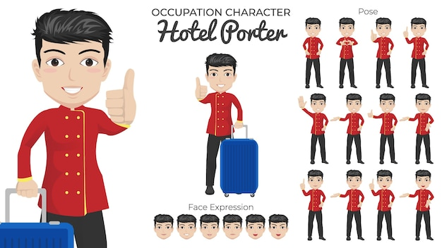 Männlicher hotel porter zeichensatz mit einer vielzahl von pose- und gesichtsausdrücken