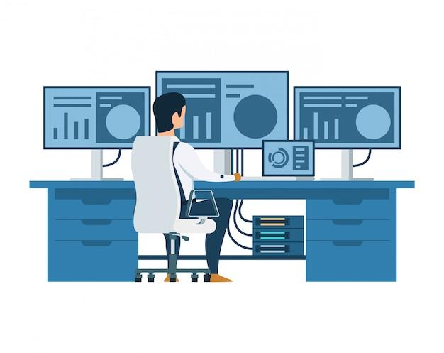 Männlicher ingenieur, der an multi anzeigen-computer arbeitet