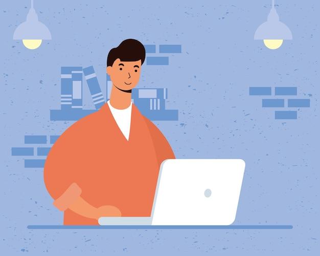Männlicher junger mann, der laptop in der hausszene benutzt