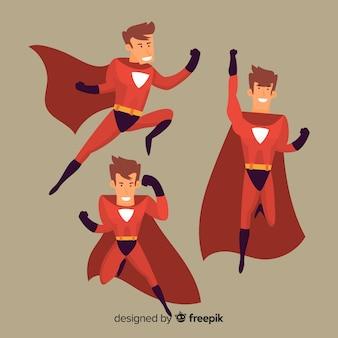 Männlicher karikatur-superheldsatz
