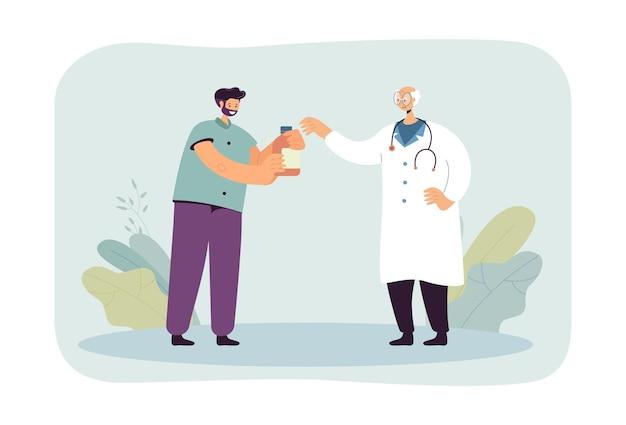 Männlicher karikaturpatient, der medikamente vom älteren arzt erhält