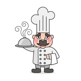 Männlicher koch der einfachen karikatur mit kochmütze. kochen von charaktersymbol oder logo, vektorillustration.