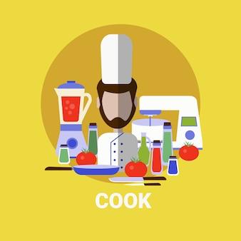 Männlicher koch, der mahlzeit-profil-avatar-ikone kocht