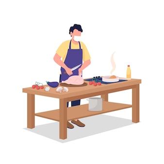 Männlicher koch in gesichtsmaske flacher farbvektor gesichtslosen charakter. mann, der essen zubereitet. kochen, kochkurs während der epidemie isolierte cartoon-illustration für webgrafikdesign und animation