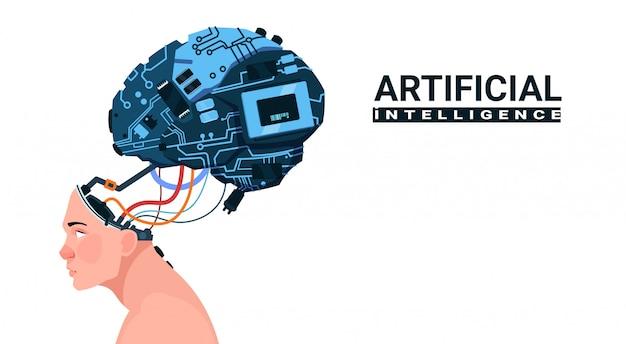 Männlicher kopf mit dem modernen cyborg-gehirn lokalisiert auf weißem hintergrund-konzept der künstlichen intelligenz