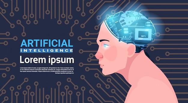 Männlicher kopf mit modernem cyborg-gehirn über stromkreis-motherboard-hintergrund-künstlicher intelligenz