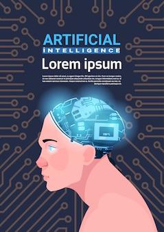 Männlicher kopf mit modernem cyborg-gehirn über stromkreis-motherboard-hintergrund-vertikale-fahne