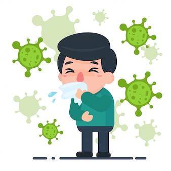 Männlicher kranker der karikatur mit grippe und mikroben