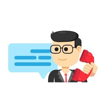 Männlicher kundendienstmitarbeiter, telefonanruf tätigen