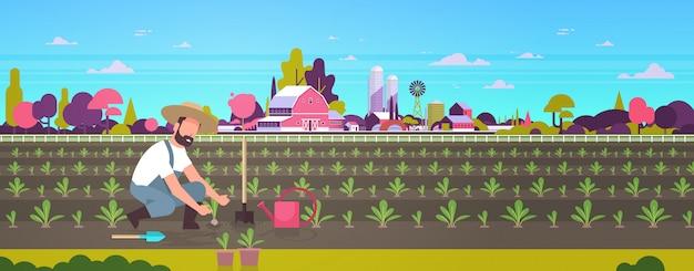 Männlicher landwirt, der junge sämlinge pflanzt, pflanzt gemüsemann, der im garten arbeitet landarbeiter ökologisches konzept ackerland feld landschaft landschaft flach in voller länge horizontal