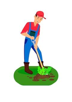 Männlicher landwirt, der sprösslings-farbillustration pflanzt