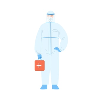 Männlicher medizinischer arbeiter in der schutzanzug- und maskenvektorillustration. mannarzt, der sicherheitsuniform-haltehilfekit isoliert trägt