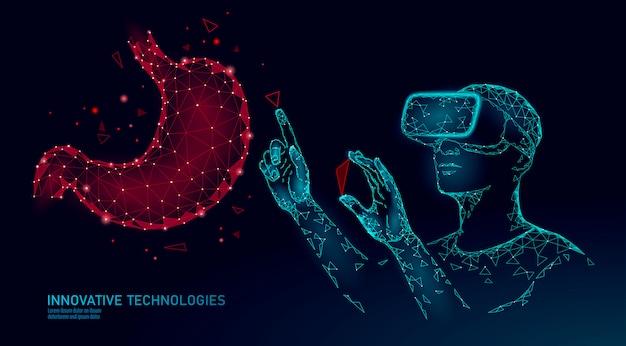Männlicher moderner arzt operiert menschlichen magenkrebs. laserbetrieb zur unterstützung der virtuellen realität. 3d vr headset augmented reality brille medizin online digital