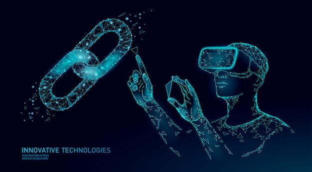 Männlicher moderner händler verwalten blockchain-system. verwaltung der datenverwaltung für die unterstützung der virtuellen realität. 3d vr headset augmented reality brille finanzieren online digital
