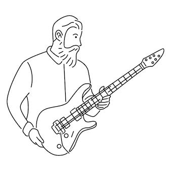 Männlicher musiker, der e-gitarre spielt