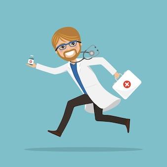 Männlicher notarzt, der läuft, um mit medikamenten zu helfen. krankenhausszene. profi mit stethoskop und aktentasche