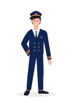 Männlicher pilotcharakter lokalisiert auf weißem hintergrund. beruf menschen konzept.