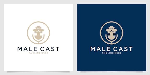 Männlicher podcast mit schnurrbart-logo-design