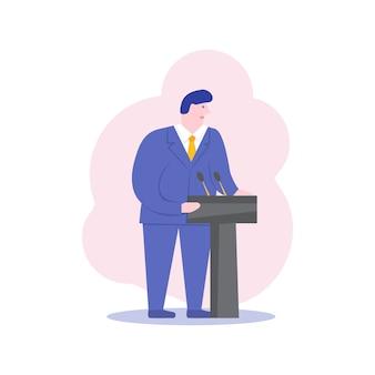 Männlicher politiker business ceo sprecher zeichentrickfigur. mann, der hinter podium steht und öffentliche rede hält. präsidentschaftskandidatendebatte