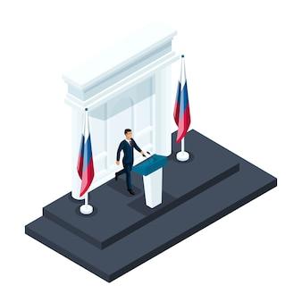 Männlicher präsidentschaftskandidat der isometrie, kandidat, der bei einem briefing im kreml spricht. russische flagge, wahlen, abstimmung, vorwärtsbewegung