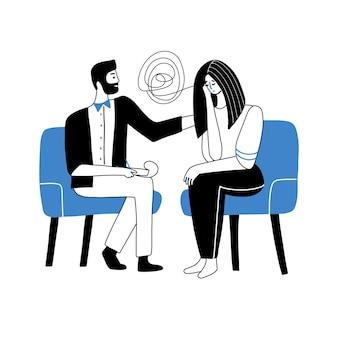 Männlicher psychologe, der eine sitzung mit seinem patienten-beratungstherapie-konzept-mann-charakter hat, versucht,...