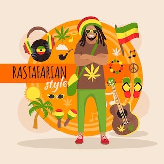 Männlicher rastafarischer charaktersatz mit stilvollem zusatz und gegenständen