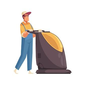 Männlicher reiniger in uniform mit bodenwischmaschine flach