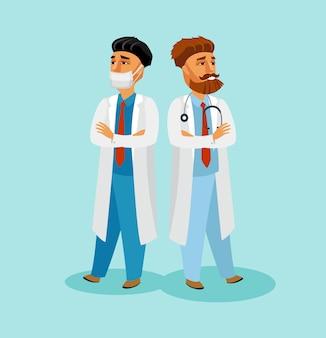 Männlicher sanitäter in der gesichtsmaske-zeichentrickfilm-figur.