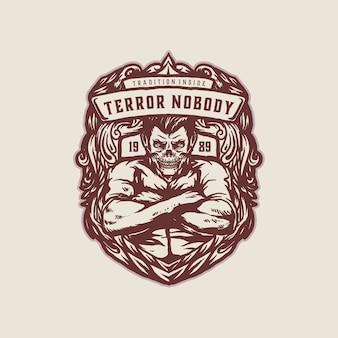 Männlicher schädel logo vektor