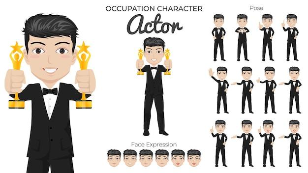 Männlicher schauspieler-zeichensatz mit einer vielzahl von pose- und gesichtsausdrücken