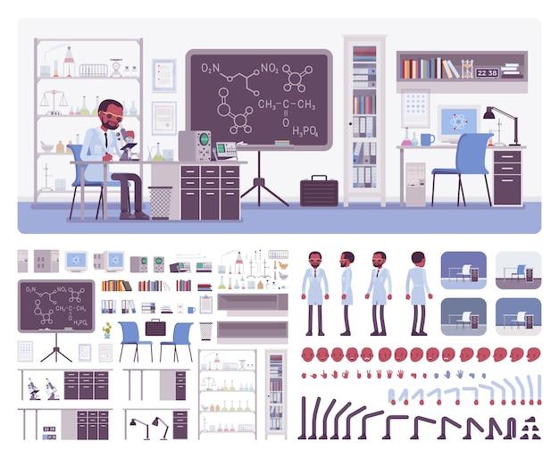 Männlicher schwarzer wissenschaftler, der im labor arbeitet