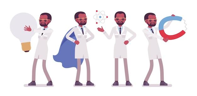 Männlicher schwarzer wissenschaftler und riesige dinge. experte für physikalisches, natürliches labor im weißen kittel mit werkzeugen. wissenschaft, technologiekonzept. stilkarikaturillustration auf weißem hintergrund