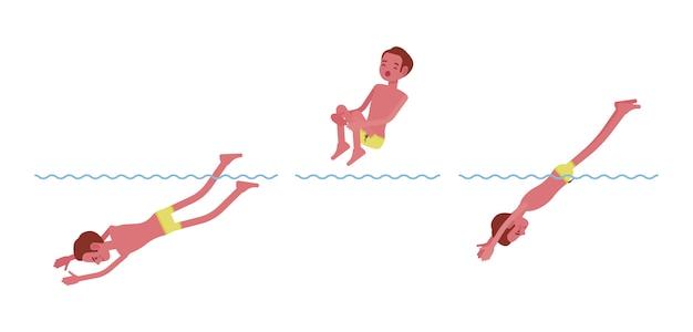 Männlicher schwimmer, der in wassersatz springt