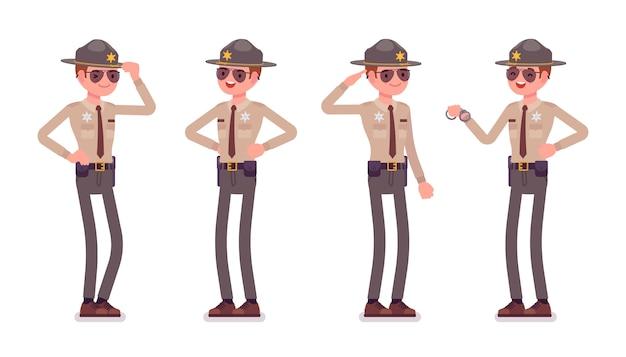 Männlicher sheriff stehend
