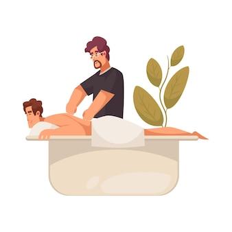 Männlicher spezialist, der entspannende körpermassage macht