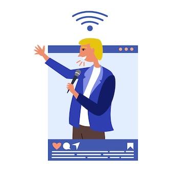 Männlicher sprecher-influencer führt schulungen in sozialen medien durch