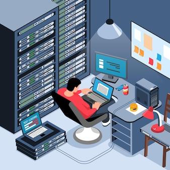 Männlicher systemadministrator, der an laptop in seinem isometrischen büro arbeitet