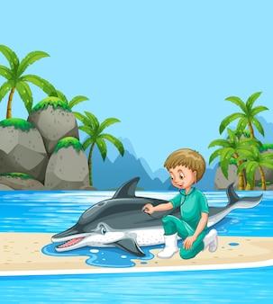 Männlicher tierarzt, der dolpin auf dem strand überprüft