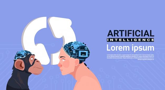 Männlicher und affenkopf mit modernem cyborg-gehirn über dem aktualisieren des zeichens aroows künstliche intelligenz