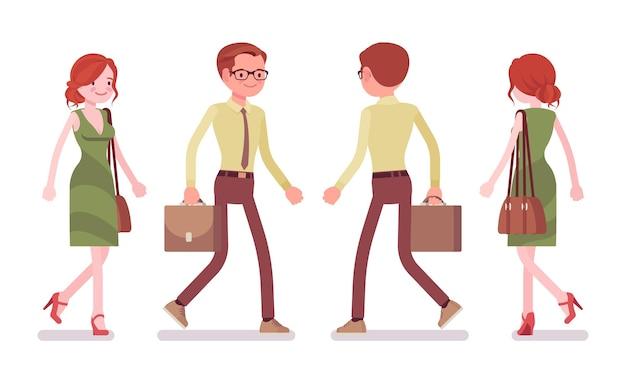 Männlicher und weiblicher angestellter gehen