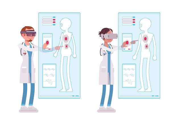Männlicher und weiblicher arzt, der vr diagnostik macht. menschen im krankenhaus und virtual-reality-immersions-therapie. medizin, gesundheitskonzept. stilkarikaturillustration auf weißem hintergrund