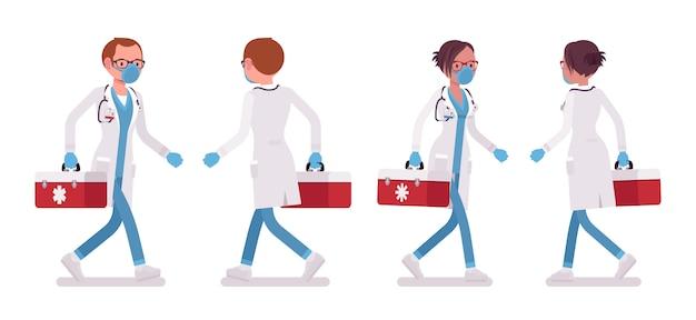 Männlicher und weiblicher arzt gehen. mann und frau in krankenhausuniform mit roter box. medizin- und gesundheitskonzept. stilkarikaturillustration auf weißem hintergrund, vorderansicht, rückansicht