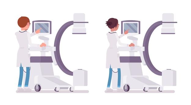 Männlicher und weiblicher arzt machen röntgen. menschen in krankenhausuniform am scangerät. medizin- und gesundheitskonzept. stilkarikaturillustration auf weißem hintergrund, rückansicht