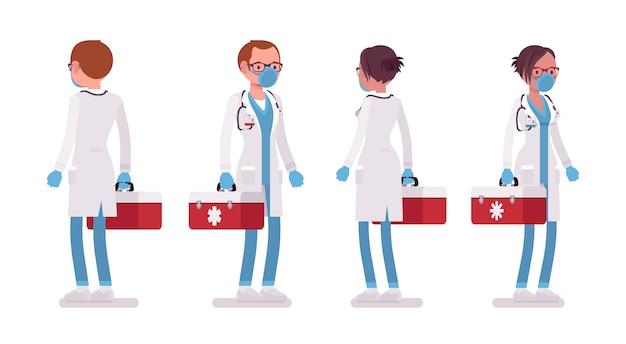 Männlicher und weiblicher arzt stehend. mann und frau in krankenhausuniform mit roter box. medizin- und gesundheitskonzept. stilkarikaturillustration auf weißem hintergrund, vorderansicht, rückansicht