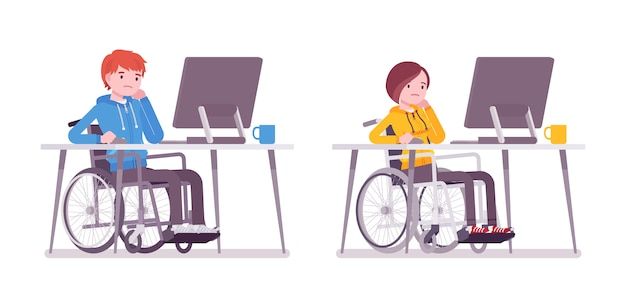 Männlicher und weiblicher junger rollstuhlfahrer, der mit computer arbeitet